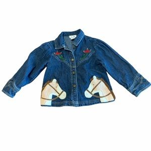 Le Top Girls Jean Jacket Cowgirl Western Horse 5